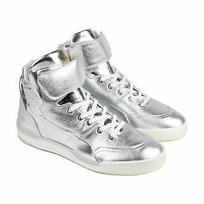 Puma MCQ Move Mid Mens Metallic Mens Silver Leather High Top Sneakers Shoes