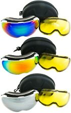 Goggles Ski Snowboard with 2 anti fog dual Magnetic lenses included Mirror & Yel