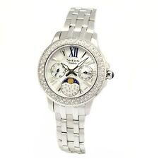 Casio Sheen Moon Phase Ladies Analog Watch Casual Silver Band SHE-3506D-7A