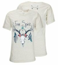 Southern Couture Lightheart Free Spirit Deer Skull Feather Triblend Front TShirt