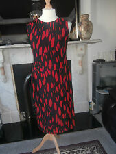 Ladies Phase 8 size 18 sleevess jersey dress red & black abstract design