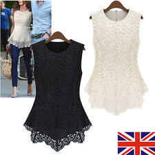 HOT Womens Sleeveless Embroidery Lace Tops Chiffon T Shirt Ladies Fashion Blouse