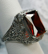 5ct *Garnet* Sterling Silver Floral Victorian Filigree Ring Size {Made To Order}