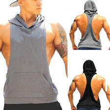 Mens Hooded Muscle Bodybuilding Sleeveless Hoodies Tank Tops Gym T-shirts Tee G