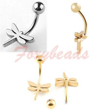 1X Stainless Steel Silvery/Golden Dragonfly Ball Belly Navel Ring Body Piercing
