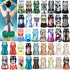Fashion Women Summer Sleeveless T-Shirt Casual Gothic Punk Vest Blouse Tank Tops