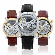 Mens Transparent Bridge Automatic Skeleton Leather Analog Mechanical Army Watch
