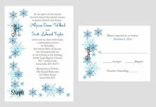 100 Personalized Custom Winter Blue Snowflake Bridal Wedding Invitations Set