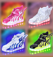 LED Light up USB Charger Sport boys girls Sneakers Wings Kids dance Shoes