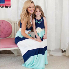 Daughter & Mother Lace Stripe Stitching Dress Casual Family Clothes Women Dress