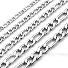 "3-7mm 20-24"" 316L Men Women Stainless Steel Figaro Chain Necklace Chain NK Links"