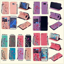 8 color 3D beautiful butterfly flowers wallet Leather case cover strap for phone