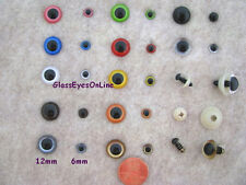20 PAIR Assorted SIZES 6mm to 12mm Plastic Safety EYES  Choose Color,  PE-1