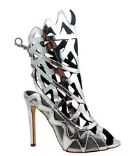 Wild Diva Mirrored Heels Open toe Lace up Gold Silver Women's shoes Nikia-32