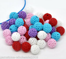 50 Mixed Woven Round Beads, Acrylic Covered W/Wool 16mm GW