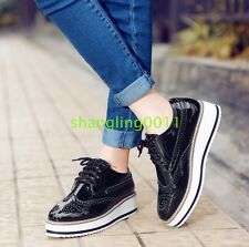 Womens Brogues Oxfords Flats Platform Creeper Lace Up Retro Wingtip Pumps Shoes