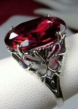 8ct Oval *Red Ruby* Sterling Silver Vintage Revival Filigree Ring Size: Any/MTO