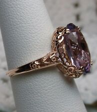 Natural Amethyst 14k Rose Gold Edwardian Filigree Ring Size: {Made To Order}