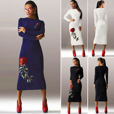 New Womens Long Sleeve Rose Pattern Bodycon Evening Party Cocktail Pencil Dress