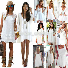 Womens Holiday Mini Playsuit Sundress Jumpsuit Ladies Summer Beach Dress WHITE