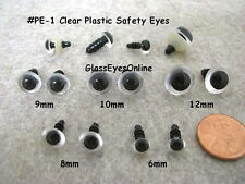 12 PAIR  6mm to 12mm Clear Safety EYES  Choose Size for teddy bear, doll,  PE-1