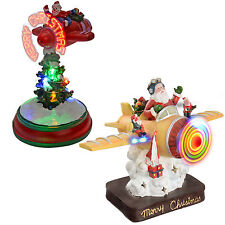 Spinning Snowman Santa Flying an Aeroplane with Colourful Fibre Optic Lights