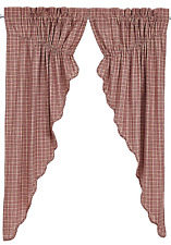 Independence Plaid Prairie Swags in Red and Tan, Scalloped Edge, Two Sizes