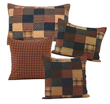 Patriotic Patch Pillow Shams in Red, Navy and Tan, Choice of Four, Set of Two