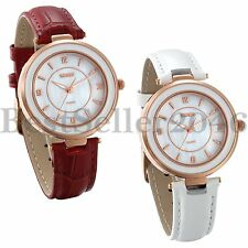 Womens Watch Quartz White Red Leather Strap Lady Wrist Watches Mom's Gift