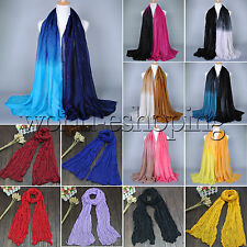 Womens Ladies Shade Pashmina Scarf Stole Shawl Wrap Soft Long Voile Warm Scarves