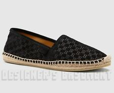 GUCCI black GUCCISSIMA Suede PILAR woven cord flat Espadrille shoes NIB Authentc