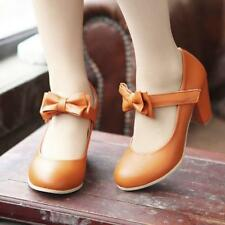 Sweet Womens Mary Jane Cute Pumps block chunky Heel Lolita Bowknot Shoes Size