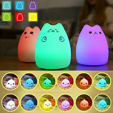 Cute Cat Nightlight LED Silicone Kids Bedroom Night Light Lamp 7 Color Changing