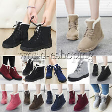 Womens Winter Warm Faux Suede Snow Boots Fur Lined Lace Up Ankle Booie Shoes Hot
