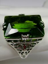 30ct Big*Green Peridot* Sterling Silver Vintage Filigree Ring (MTO/New) Size Any