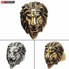 Punk Gothic Rock Animal Lion Head King Stainless Steel Mens Ring Jewelry Gift