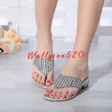 Womens lady Rhinestone Crystal Dress Sandals Casual Shoes Slippers Flip Flops