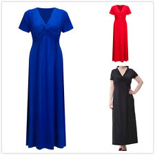 Empire Waist V-Neck Maxi Dress Evening Party Short Sleeve Plus Size Blue Black