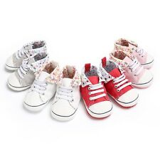 Newborn Baby Crib Shoes Infant Casual High Top Lace-Up Sports Sneakers Boots New