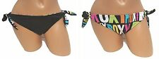 Swimsuit Bikini Bottom NEW Women Juniors Large ROXY Reversible Black LOGO 1413
