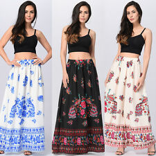 Boho Vintage Style Floral Pattern Long Dress Ladies High Waist Maxi Skirt Dress
