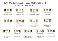 FATHERS DAY CARDS.ARMY VINTAGE BADGES.REGIMENTS L - R & QUEEN'S REGIMENTS.NEW