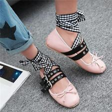 Retro Womens Lace Up Ankle Strap Ballet Flats Buckle Round Toe Oxfords Shoes #@@