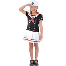 Girls Sailor Girl Costume for Sea Nautical Fancy Dress Childrens Kids Childs