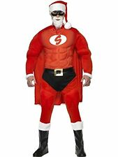 Mens 8 Piece Super Hero Santa Rudolph Xmas Festive Fancy Dress Costume Outfit