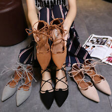 Womens Fashion Casual Ballet Flats Suede Pointed Toe Lace Up Straps Shoes Size
