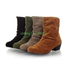 Womens Low Heels Faux Suede Round Toe Casual Slouch Comfort Ankle Boots Shoes