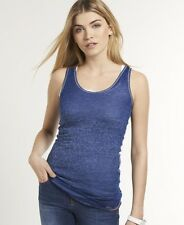 New Womens Superdry Burnout Tank Top Navy