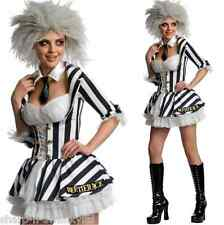 Ladies Sexy Miss Beetlejuice & Wig Halloween 80s Fancy Dress Costume Outfit 8-18
