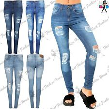 Womens Ladies Skinny Destroyed Ripped Distressed Faded Pants Trouser Denim Jeans
